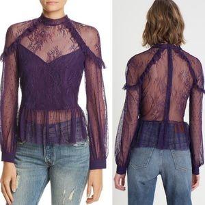NWT Bardot Splice Purple Lace Top